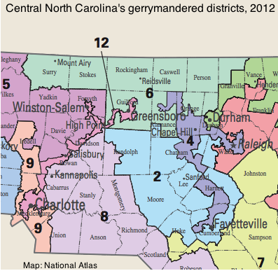 In 2014 The Gop Picked Up One More Seat Note The Snakelike Gerrymandered Districts Four And 12 That Cross The State Here