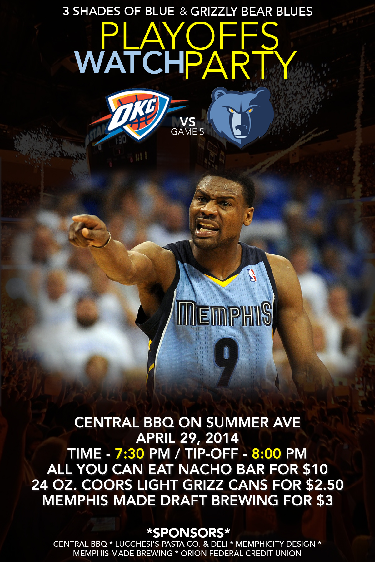 NBA Playoffs 2014 - 3SOB.com & GBB Watch Party for Grizzlies at Thunder Game 5 on 4-29-14 ...