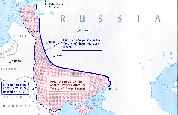 Russia capitulates in the Treaty of Brest-Litovsk