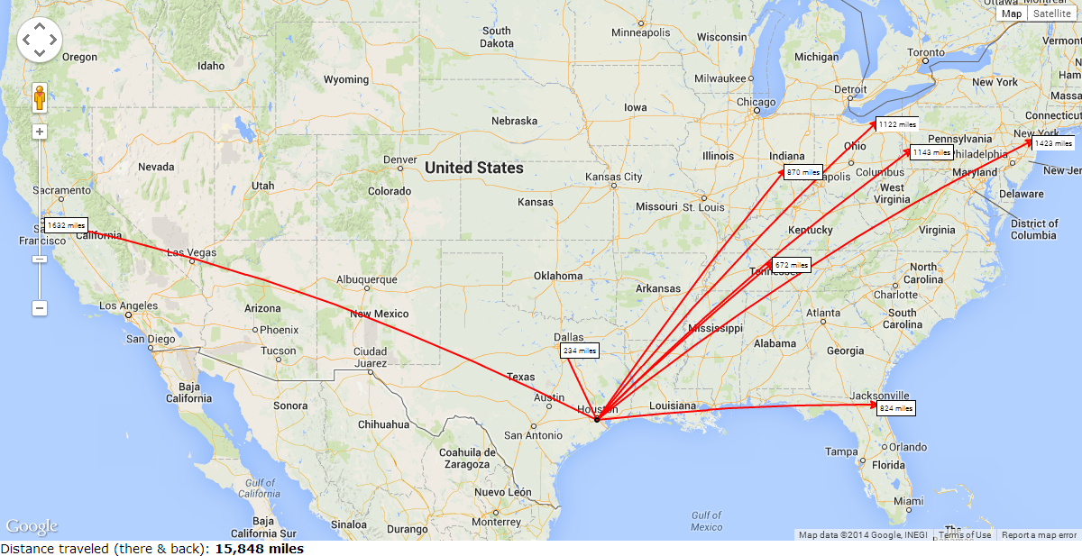 Houston Texans Travel Distance For The 2014 Season Complete With