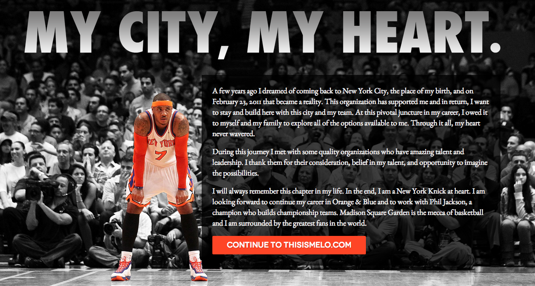 Carmelo Anthony officially announces his return to the Knicks