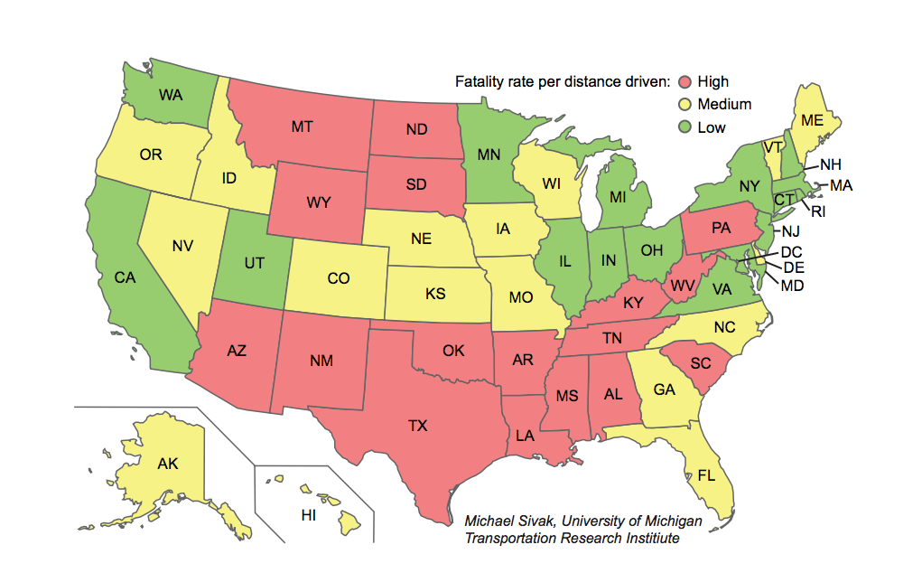 Maps The states with the most and fewest traffic deaths Vox
