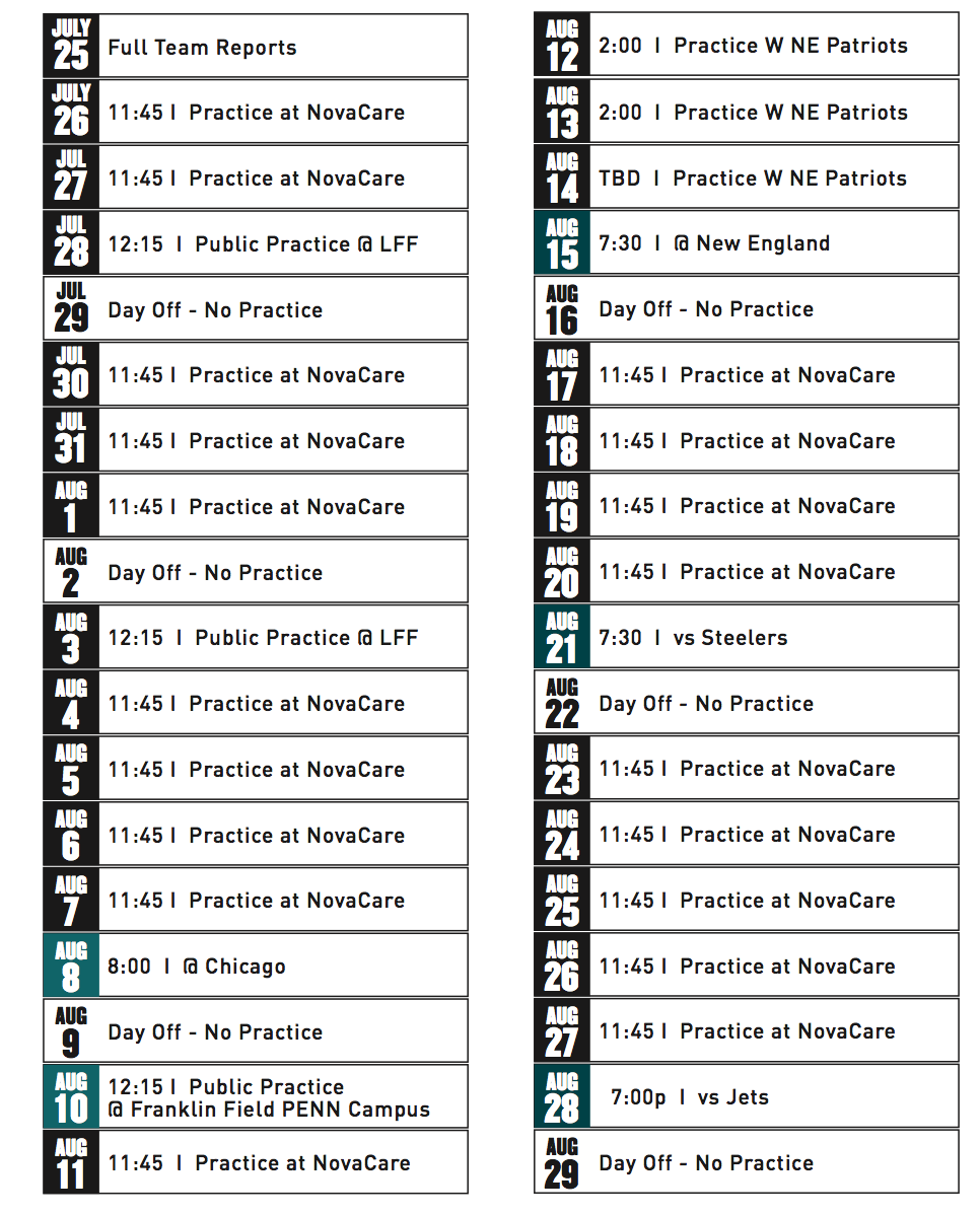 Philadelphia Eagles 2014 Schedule