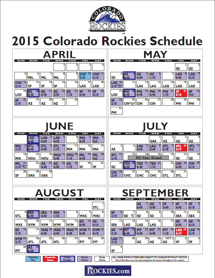 ... , Printable Colorado Rockies Schedule 2015 | Calendar Template 2016