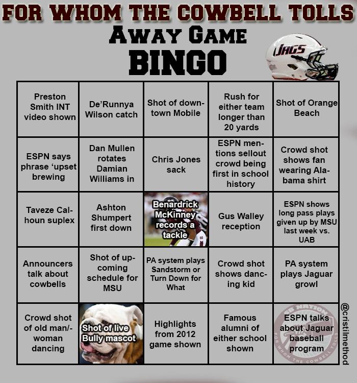 Away Game Bingo