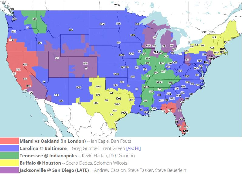Week 4 NFL TV Map and Coverage - Cincy Jungle
