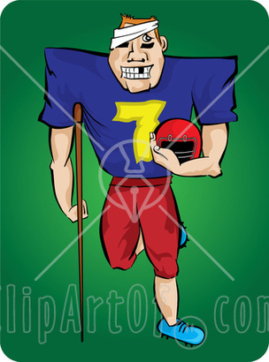 21358-clipart-illustration-of-a-grinning-injured-football-player-with-missing-teeth-a-bandage-on-his-head-and-an-injured-leg-carrying-his-helmet-and-leaning-on-a-crutch