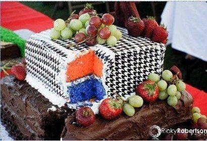 Houndstooth-orange-and-blue-cake