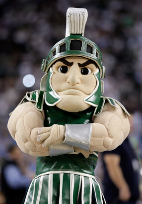 Sparty-the-mascot-for-the-michigan-state-spartans-looks-on-in-the-first-half
