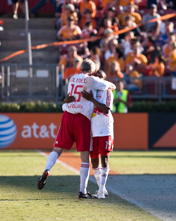 John Wolyniec and Dane Richards of NY Red Bulls celebrate a goal in their 4-1 aggregate playoff win over the Houston Dynamo. Photo: Wendy Larsen, isiphotos.com