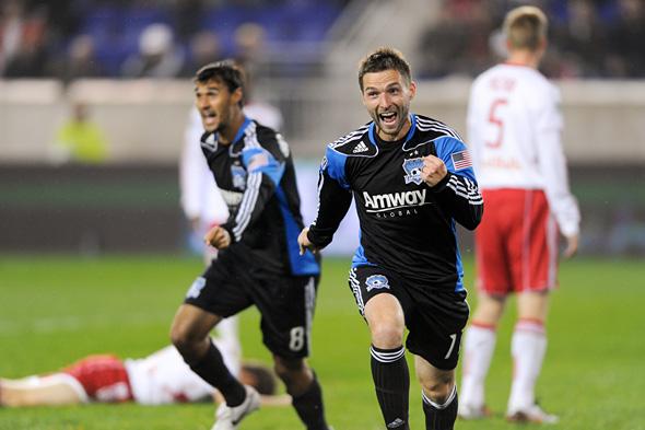 Bobby Convey celebrates a goal
