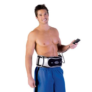 A man wears the Ston-O-Max around his waist and no shirt, showin' off his abs