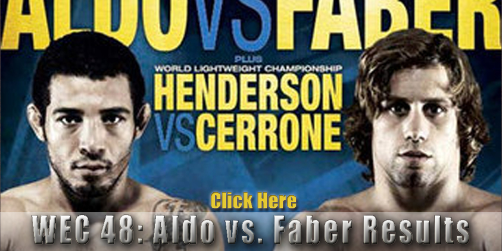 WEC 48 results and LIVE fight coverage for 'Aldo vs Faber' on April 24 in Sacramento