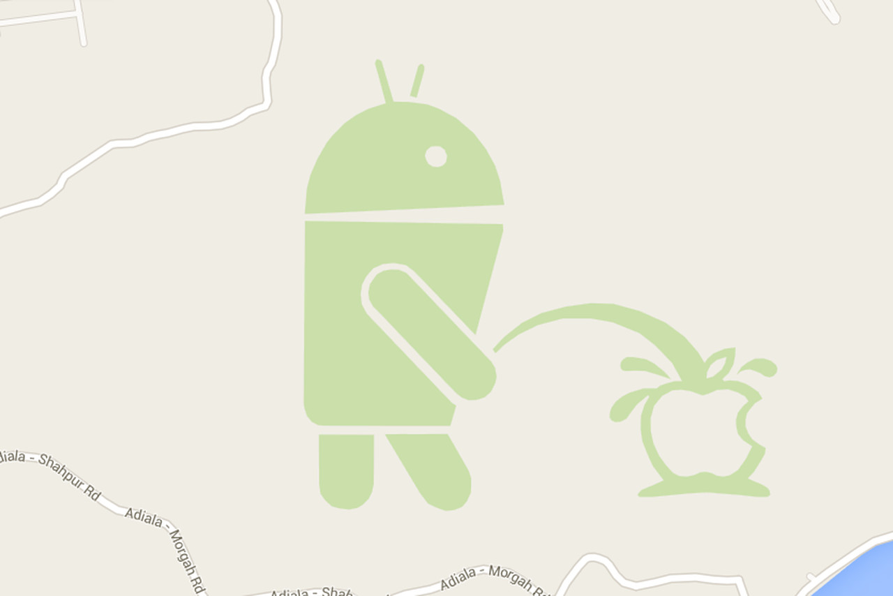 Theres An Android Robot Urinating On The Apple Logo In