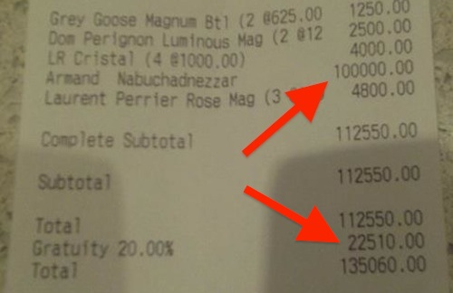 Here S A Club Receipt For A 100k Bottle Of Champagne Eater