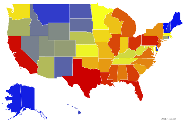 which states are the biggest producers of nfl touchdowns blue is least red is most