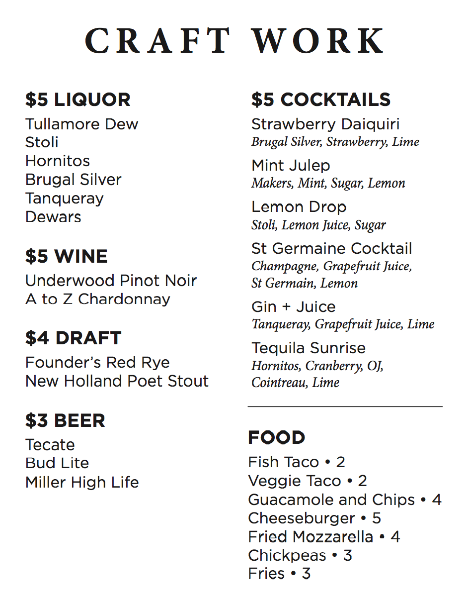 Craft Work Rolls Out Expanded Happy Hour For Summer Eater Detroit