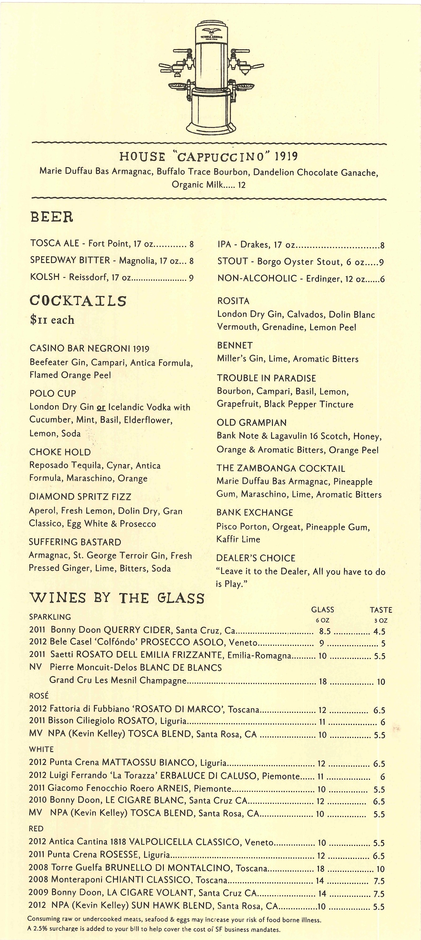 Exclusive Peep April Bloomfield S Tosca Caf 233 Menu Eater Sf