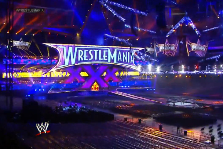 Wrestlemania 30 stage set up revealed at the mercedes benz for Mercedes benz superdome wrestlemania 30