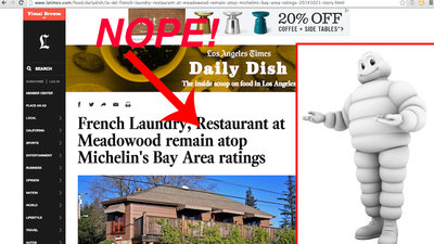 The Los Angeles Times Mistakenly Reports Last Year's SF Michelin List