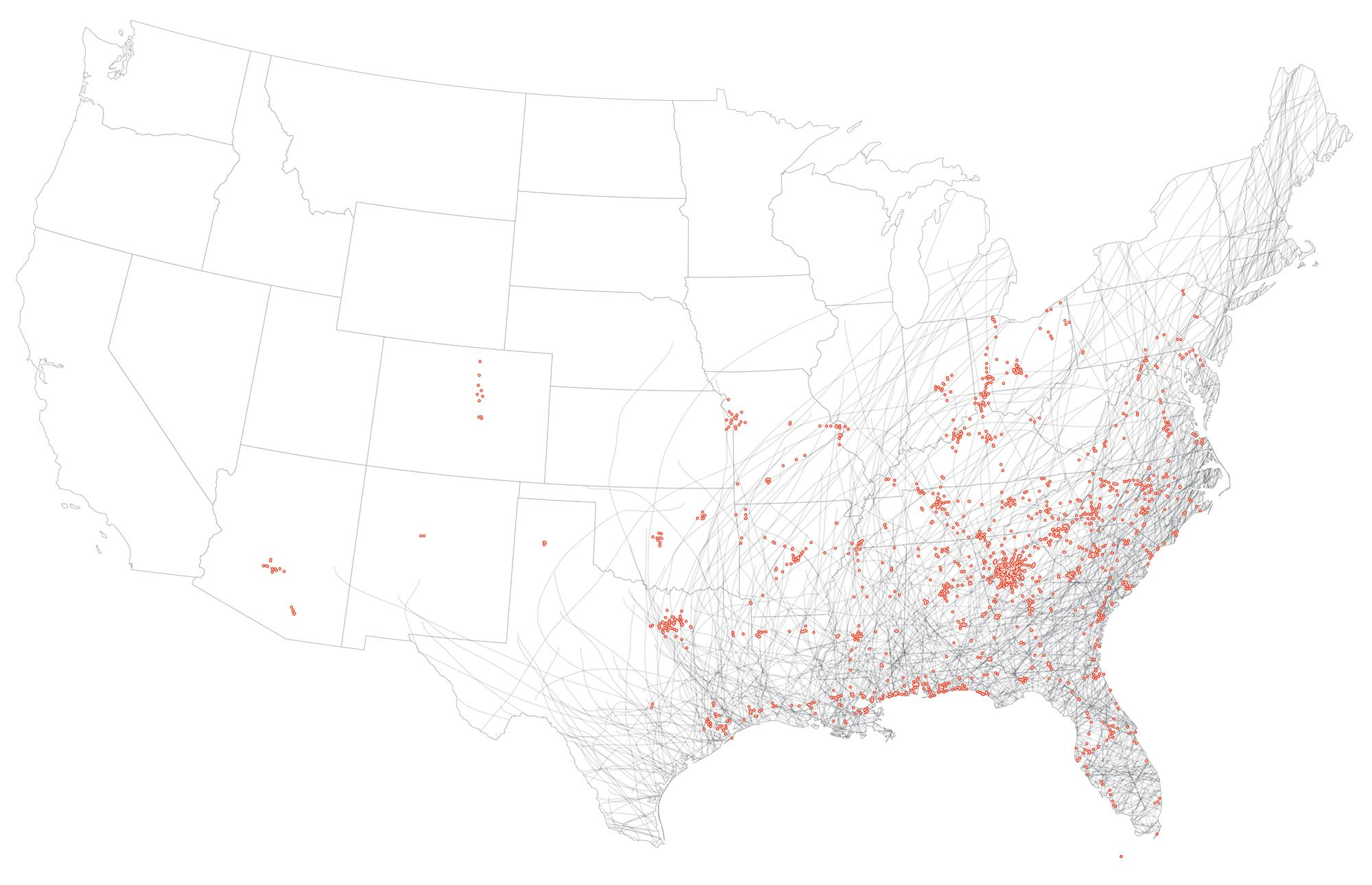 Maps That Explain Food In America Voxcom - Density map of waffle house in us