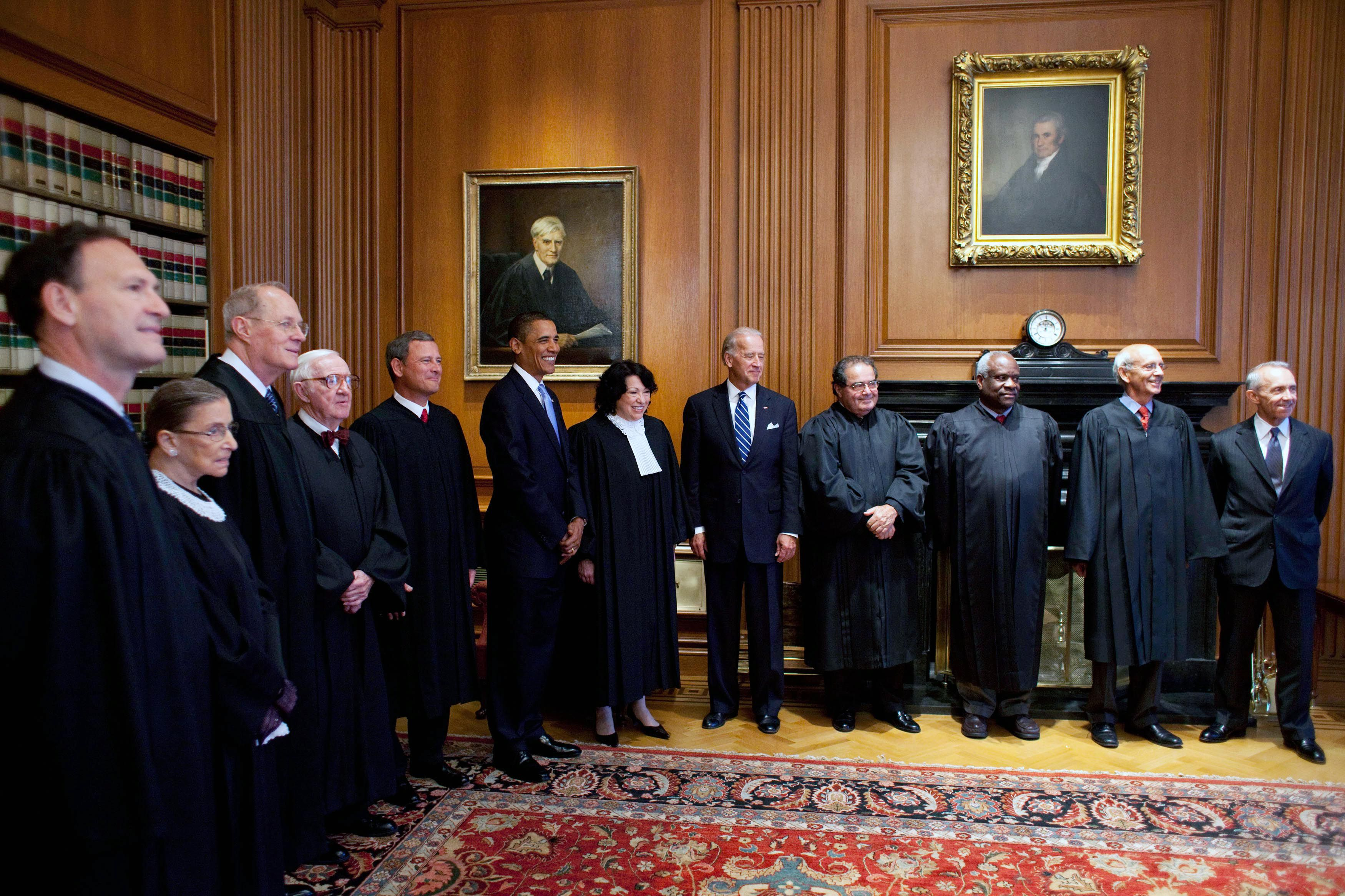 The members of the Supreme Court meet with President Obama in 2009, prior to Justice Sonia Sotomayor's swearing-in.