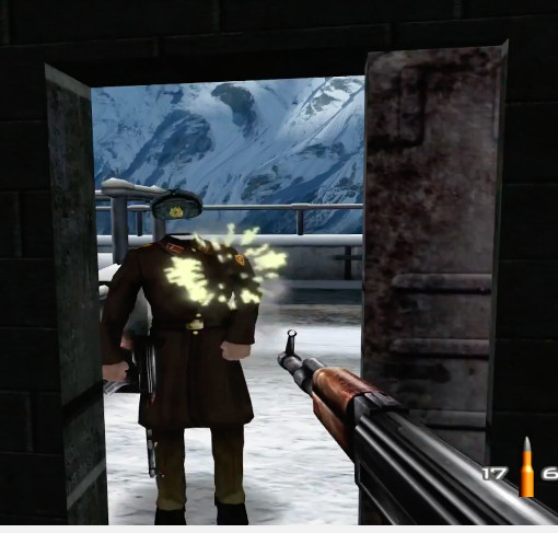 russian soldier in GoldenEye with no head