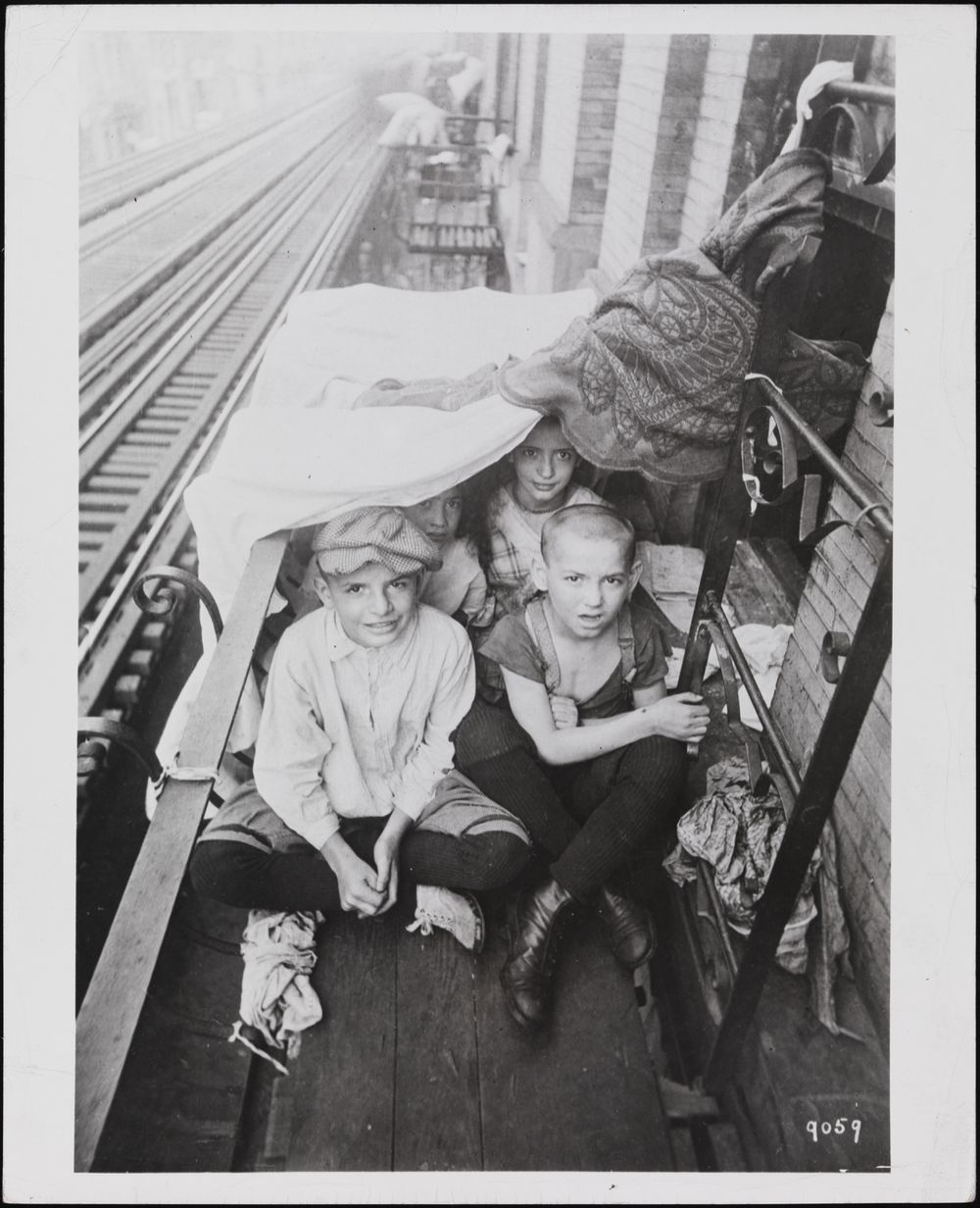 Kids on fire escape 1916