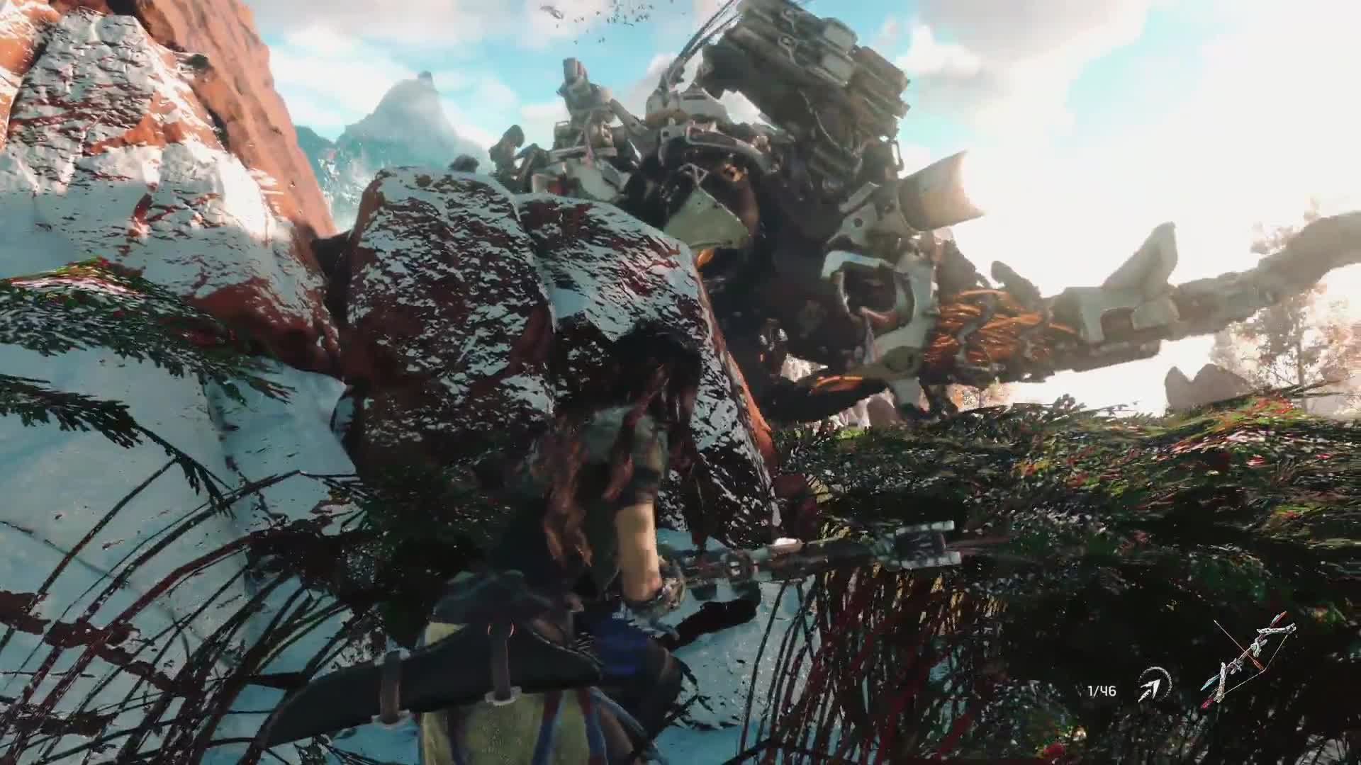 Watch a post-apocalyptic cavewoman hunt robot dinosaurs in a