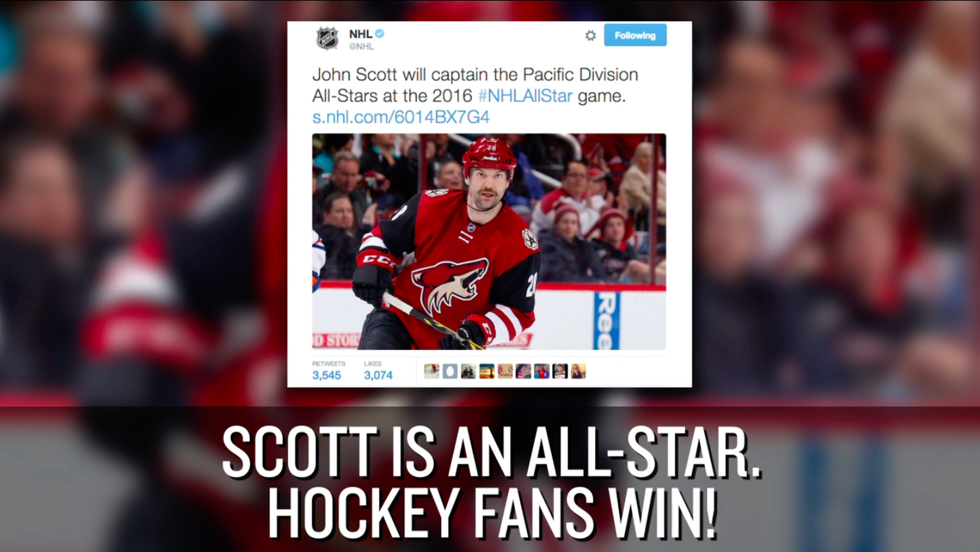 0092a0c5b The NHL tried to use John Scott s kids to bully him out of the All-Star  Game - SBNation.com