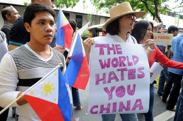 Filipino demonstrators at a 2014 protest against Chinese aggression in the South China Sea.