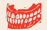 Illustration of a set of grinning teeth.