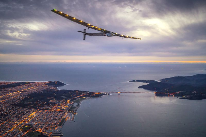 Solar Impulse II flying over Golden Gate Bridge
