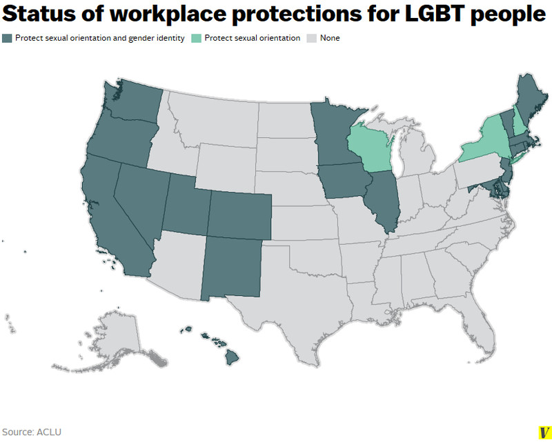 LGBT workplace nondiscrimination map