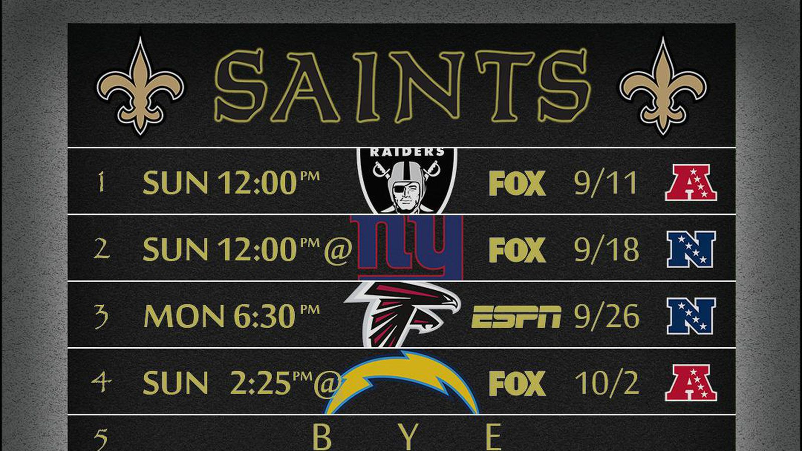 Saints schedule wallpaper - Canal Street Chronicles