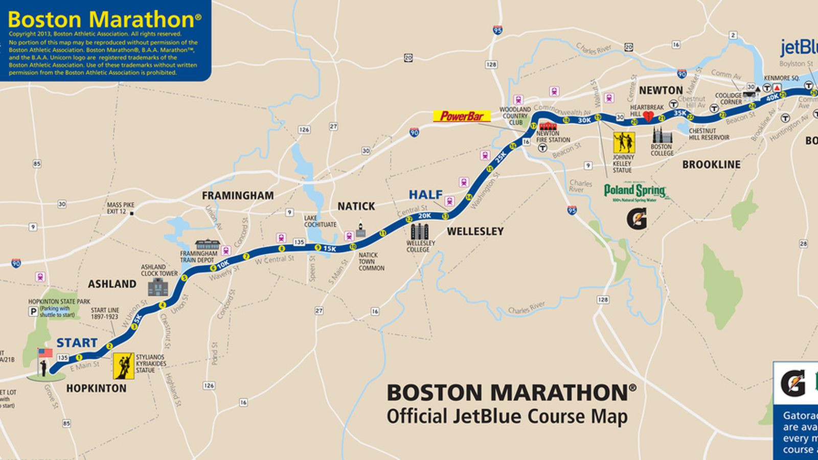 Boston Marathon 2013 Route Information Course Map And