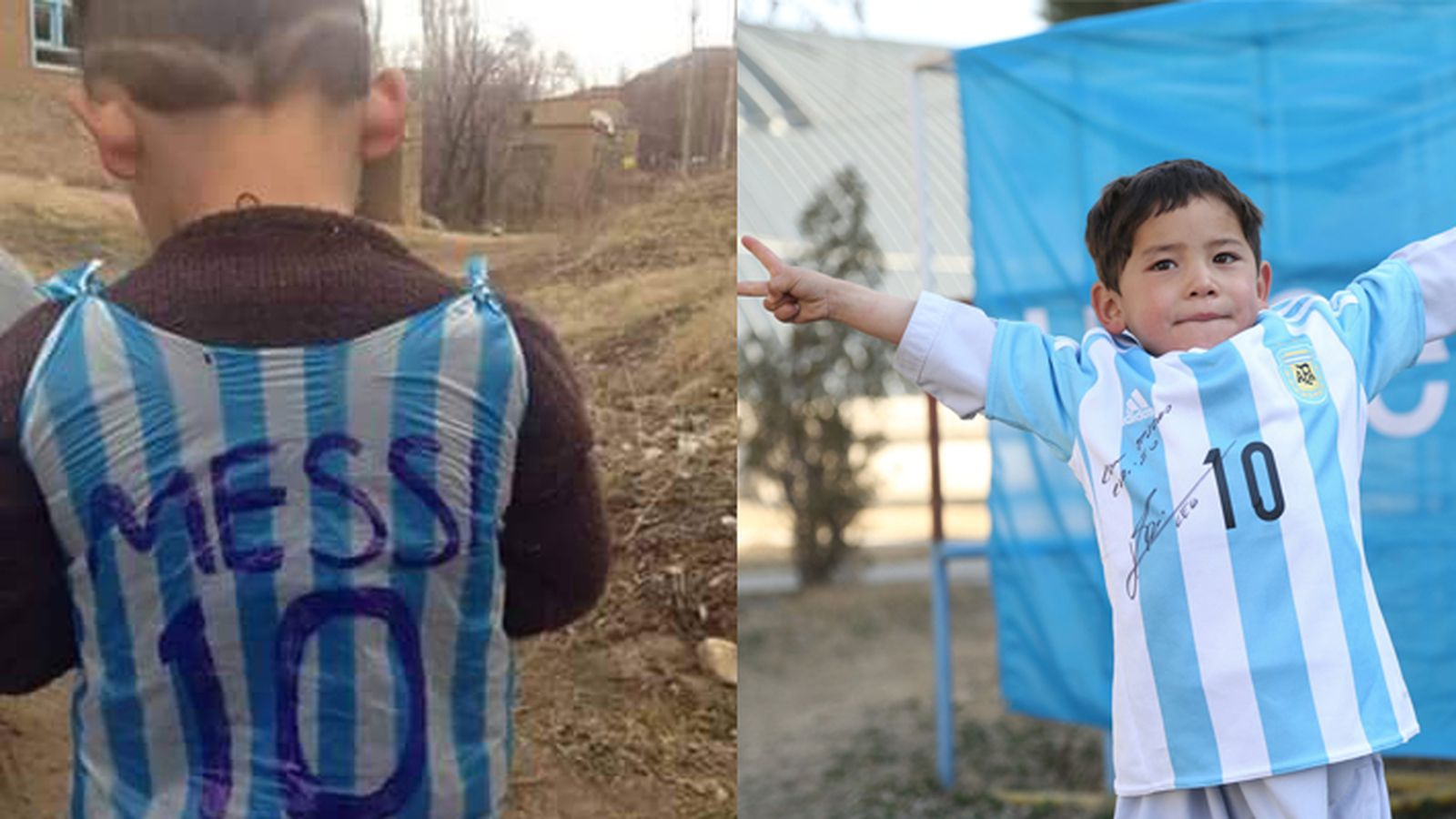 Messi replaces Afghan boy's plastic bag shirt with a real autographed one
