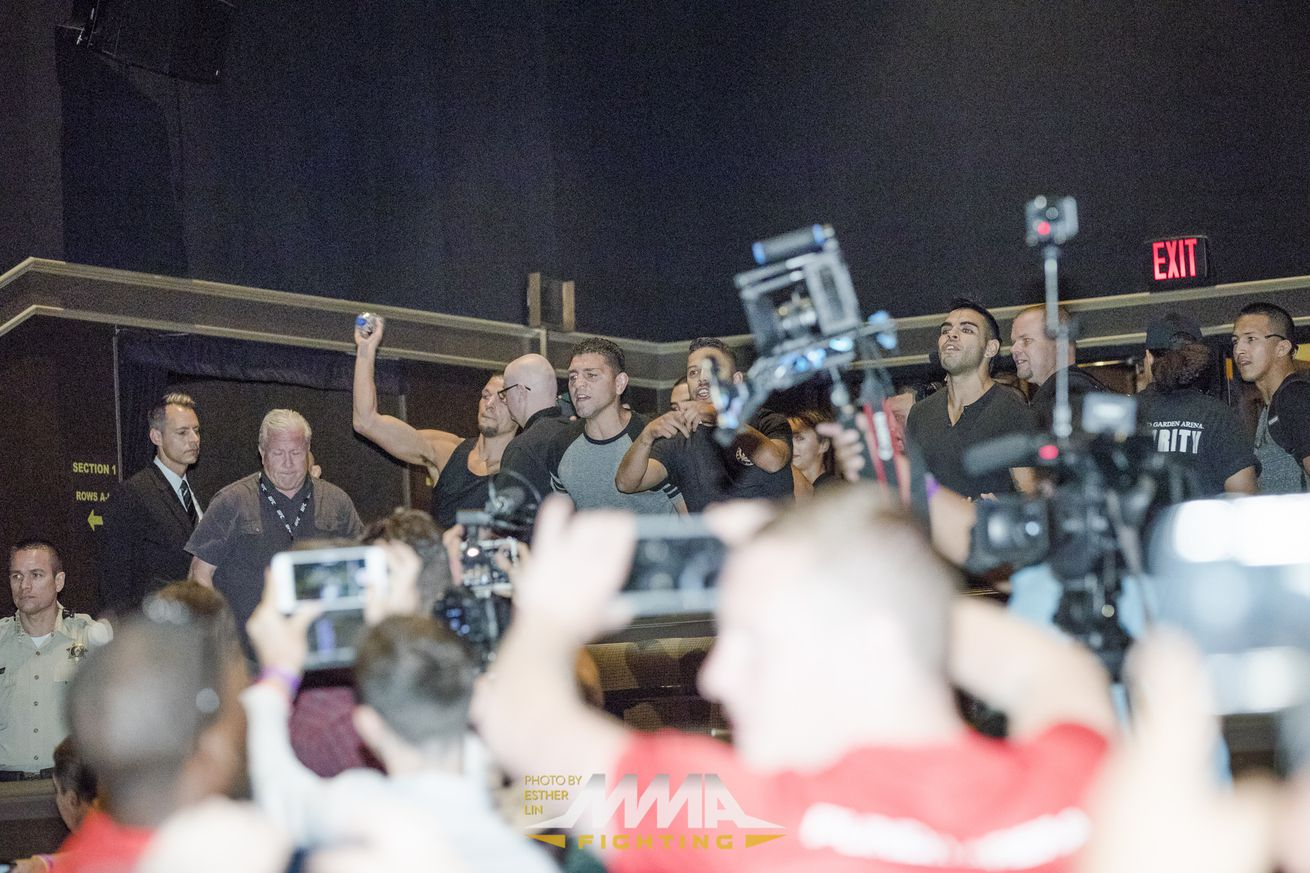 Chaos erupts, energy drink cans thrown at Conor McGregor Nate Diaz press conference