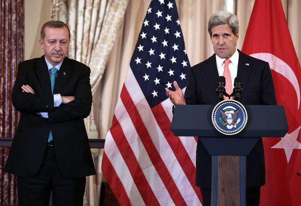 Turkish President Recep Tayyip Erdogan with John Kerry.