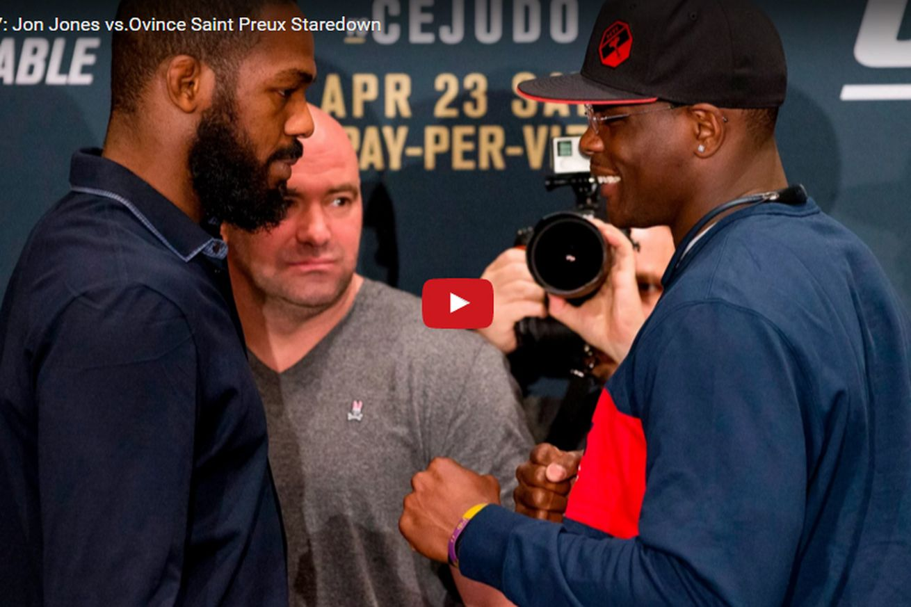 Jon Jones vs Ovince Saint Preux staredown video from UFC 197 media day