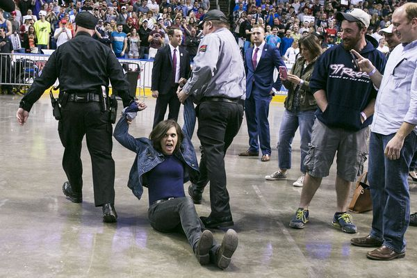 A protester being removed from a Trump rally on April 19 in Buffalo.