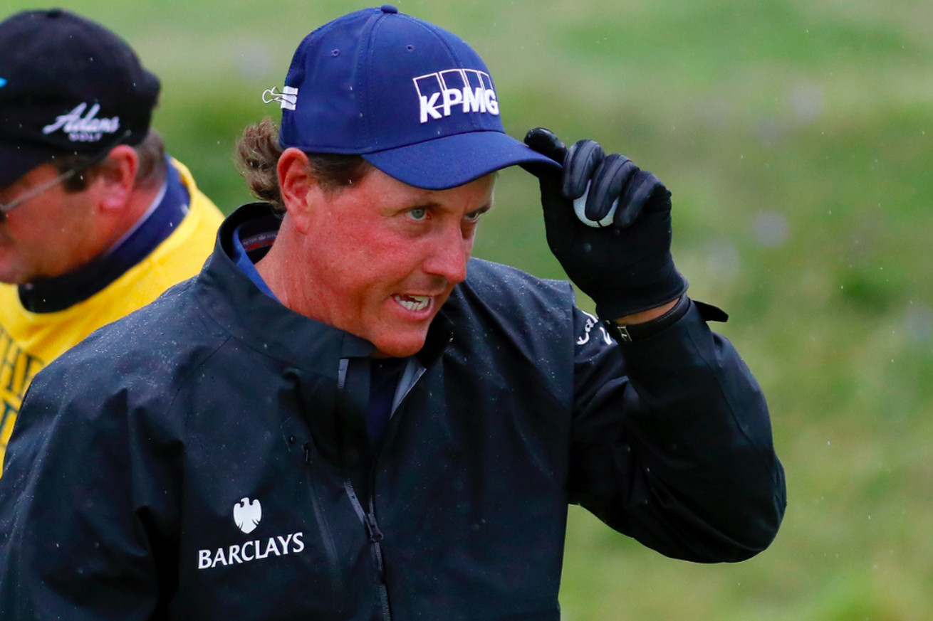 Phil Mickelson Is Wearing A Binder Clip On His Hat