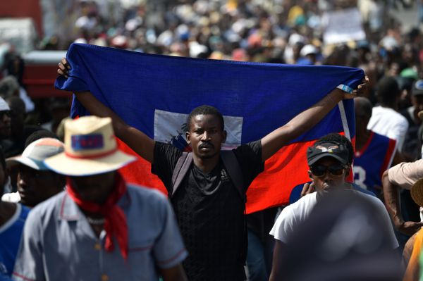 Protesters in Port-Au-Prince.