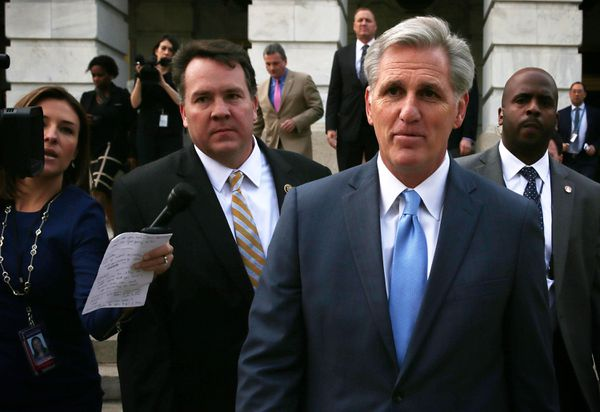McCarthy leaves after the closed door meeting in which he withdrew his candidacy.