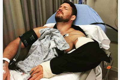 Pic: Woozy Michael Bisping emerges from elbow surgery