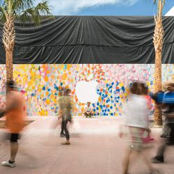 Apple has created an easter egg colored mural for its for Apple boutique mural