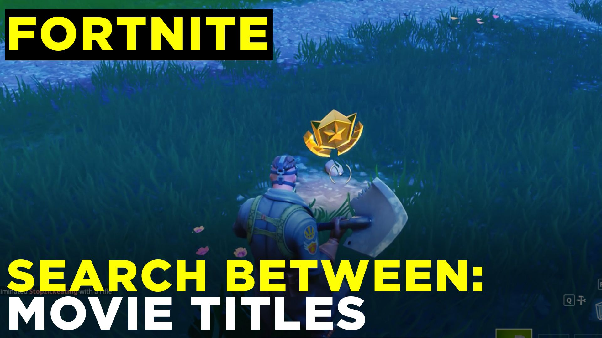 Search between movie titles — Fortnite Challenge Location