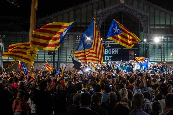 Catalan independence supporters celebrate in Barcelona
