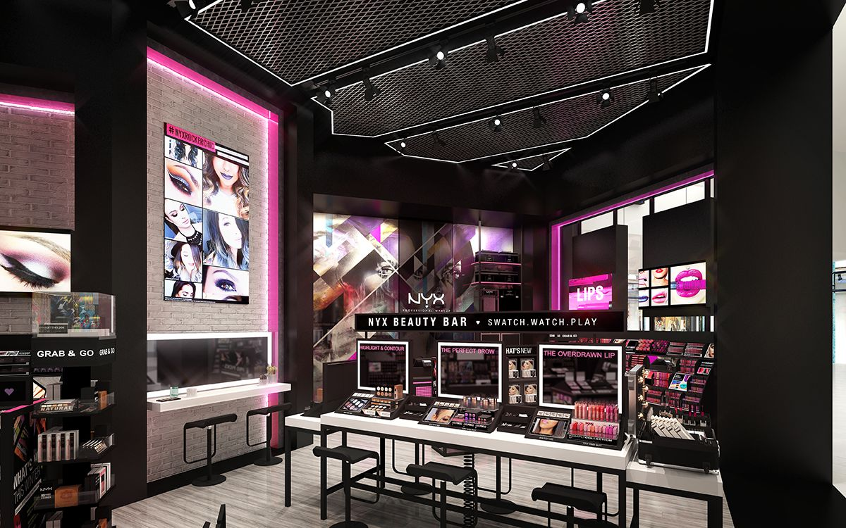 more on nyx cosmetics 39 s first beauty boutique at westfield santa anita racked la. Black Bedroom Furniture Sets. Home Design Ideas