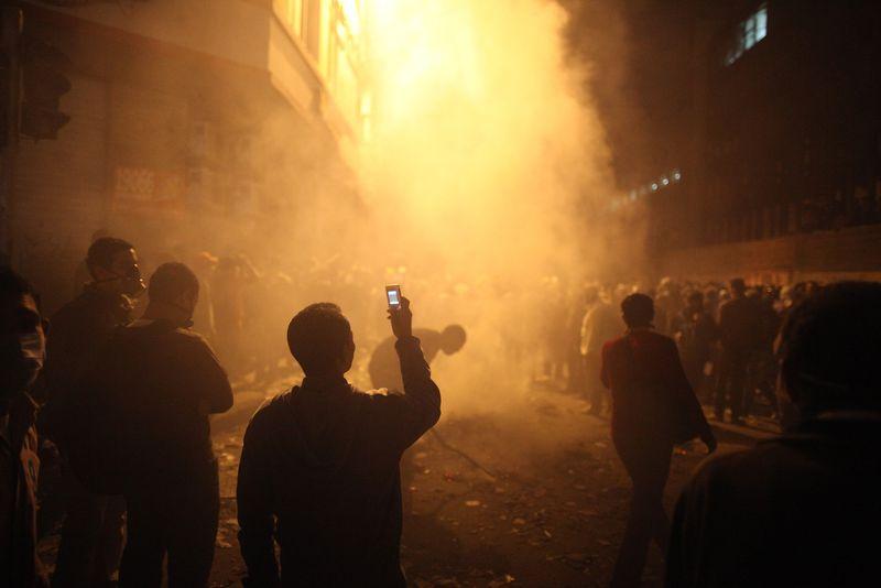 Tahrir protest teargas